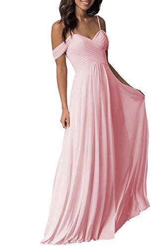 Juniors Pink Wedding Bridesmaid Dress for Women Long Pleated Chiffon Formal Dress for Women