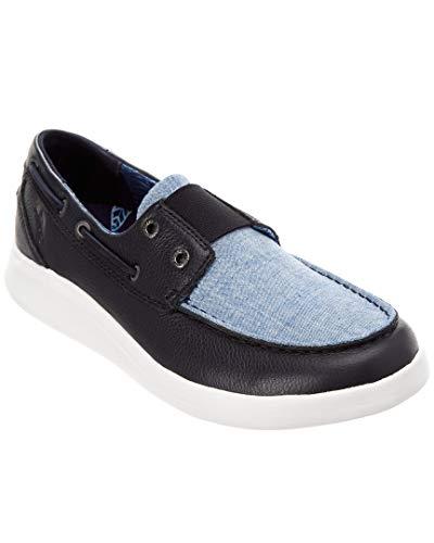 Blue Leather Ridge (Tommy Bahama Men's Ocean Ridge Leather Relaxology Deck Boat Shoes Blue Size 8)