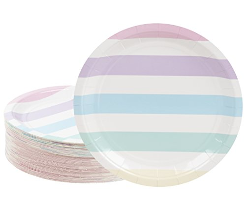 Disposable Plates - 80-Count Paper Plates, Party Supplies for Appetizer, Lunch, Dinner, and Dessert, Birthdays, Multi-Colored Pastel Stripes Design, 9 x 9 inches -