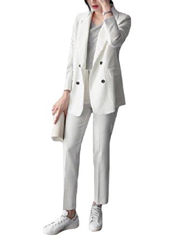 Howme Women Tenths Pants Oversize Pinstripe Blazer 2-Piece Suits Set White L White Pinstripe Blazer