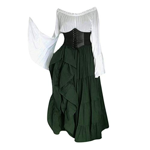 - ℱLOVESOOℱ Women's Renaissance Medieval Costumes Dress Trumpet Sleeves Empire Gothic Floor Length Cosplay Retro Gown Green