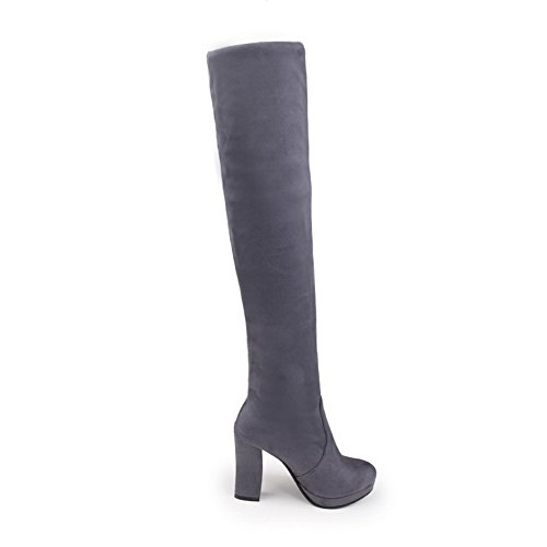 BalaMasa Womens Pull-on High-Heels Solid Platform Round-Toe Above-The-Knee Suede Boots ABL09720 Gray 3JihisQeD