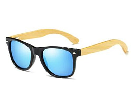 (Fashion Products Men Women Glass Bamboo Sunglasses Vintage Wood Lens Wooden Frame Handmade (blue))