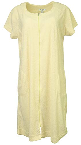 (Sindrella Women's 65% Cotton Terry Zippered Cover-up Robe with Pockets (Medium, Yellow))