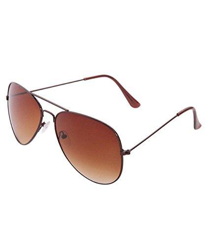 Agera UV protective unisex aviator sunglasses – (AG1001-Brn-GD 58 Brown Lens)