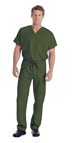 Landau Unisex V-Neck Scrub Top 7502 & Scrub Pant 7602 Medical Uniform Scrub Set (Olive - Large)