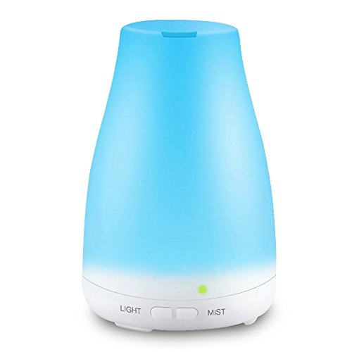 KBAYBO Essential Oil Diffuser,100ml Aroma Essential Oil Cool Mist Humidifier with 7 Color LED Lights Changing,Waterless Auto Shut-off for Home Office - Cool Wooden Stuff