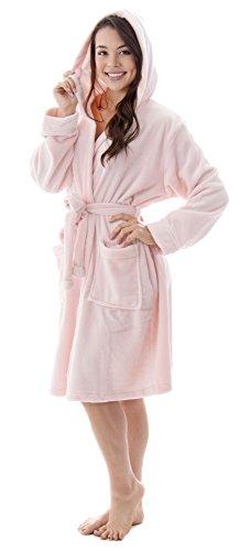 - Livingston Luxurious Flannel Long Sleeve Pint Design Bath Robes For Women Glitter Pink