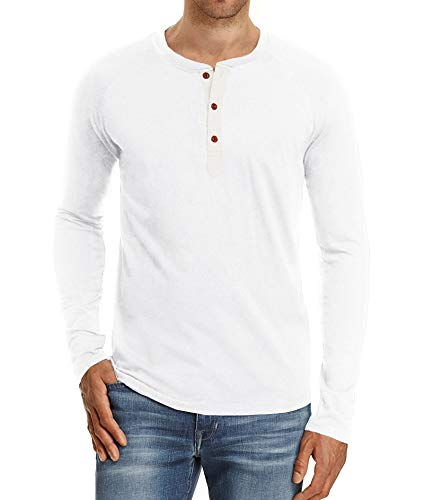 NITAGUT Mens Fashion Casual Front Placket Basic Long Sleeve Henley T-Shirts (M, White)