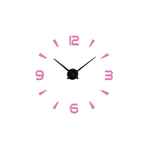 Asteria-Ashley 3D Wall Clock Modern Design Acrylic Digital Sticker DIY Big Wall Clock Decoration Living Room,Pink,47Inch