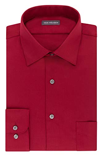 (Van Heusen Men's FIT Dress Shirts Lux Sateen Stretch Solid (Big and Tall), red, 19