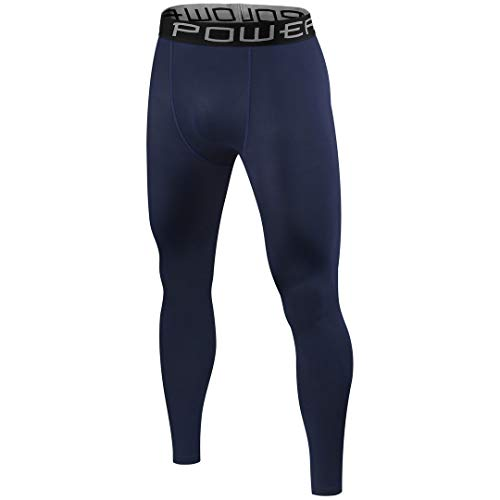PowerLayer Mens Boys Compression Thermal Base Layer Under Tights/Leggings - Blue - S Youth (Age 6-8)