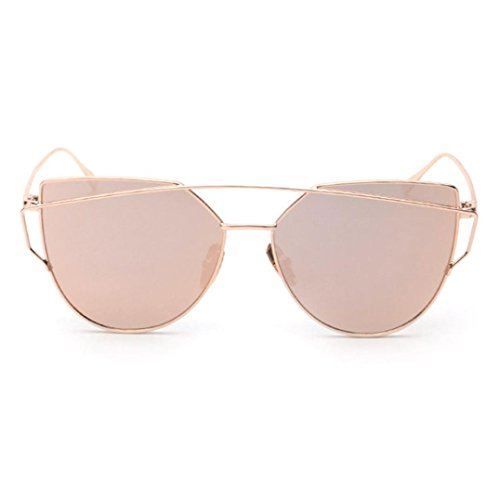 Forthery Cat Eye Mirrored Flat Lenses Classic Metal Frame Women Sunglasses (Rose - Frame Square Michaels Sizes