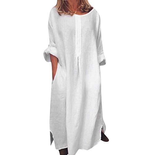 Honghii Women Long Sleeve Dress O-Neck Summer Cotton Maxi Dress Pockets Neckline Wing Sleeve Plain Dress Evening Party White