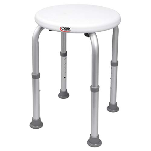 Carex Compact Shower Stool - Adjustable Height Bath Stool And Shower Seat - Aluminum Bath Seat That Supports 250lbs