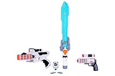 Space Wars Series: Planet Of Toys Space Weapon Set 1 Gun (28cms), 1 Gun (19cms), 1 Laser Sword (60cms), Dart Blaster With 4 Darts