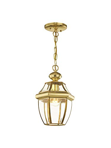 Livex Lighting 2152-02 Monterey 1-Light Outdoor Hanging Lantern, Polished - Polished Outdoor Hanging Brass