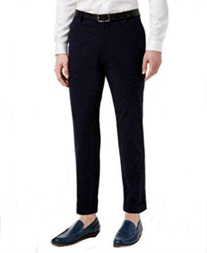 INC Navy Mens 32x32 Seersucker Slim Flat Front Dress Pants Blue (Seersucker Flat Front Pants)