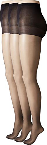 HUE Women's So Silky Sheer Control Top Pantyhose (3-Pack) Black 2 ()