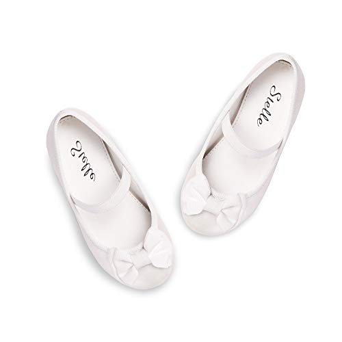 STELLE Girls Bow-Knot Mary Jane Shoes Slip-on Party Dress Flat for Girls (Champagne, ()