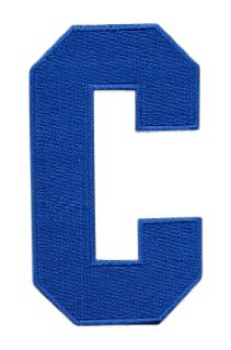 Hockey Style Patch ROYAL BLUE C Patch (Captain) Iron On for Jersey Football, Baseball. Soccer, Hockey, Lacrosse, Basketball ()