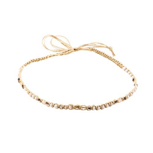 Braided Choker Necklace - BlueRica Hemp Cord Macrame Choker Necklace with White Beads
