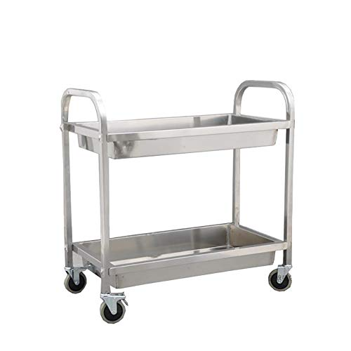 Bowl Trolley (Two-Layer Stainless Steel Kitchen Trolley, Hotel Collection Bowl Multi-Function Fruit and Vegetable Cart, Practical Storage Cabinet with Rollers Can Put A Variety of Things)