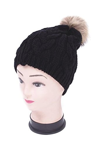 Women's Premium Knitted Slouchy Beanie Hat with Faux Fur PomPom - Black (Cable Knit) (Burgundy Felt Bonnet)