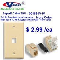 SuperEcable - 00156 - Cat5e Tool Less Keystone Jack Ivory Color, with 1port Rj 45 Keystone Wall Plate, Ivory Color ()