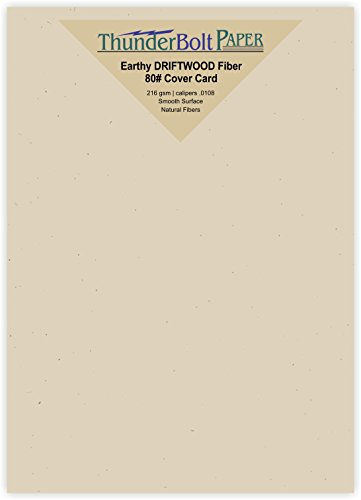 - 100 Earthy Driftwood Fiber Paper Sheets - 80# Cardstock - 5