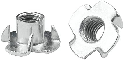 Drenky 50 pi/èces M8 x 10 mm /Écrous en T /Écrous en T /à quatre dents /Écrous en acier au carbone zingu/é pour meubles de menuiserie Bois et cales descalade
