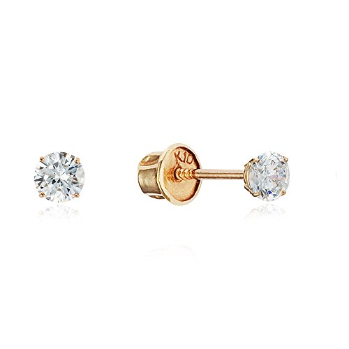10k Yellow Gold 2mm Basket Round CZ Cubic Zirconia Solitaire Children Screw Back Baby Girls Earrings ()