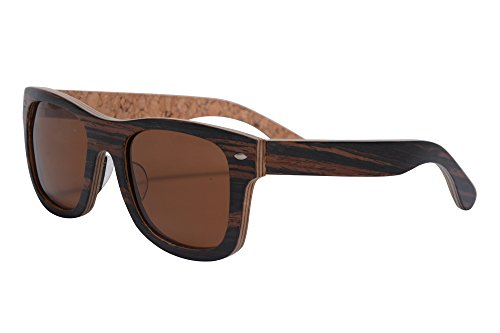 Genuine Handmade Wood Sunglasses Anti-glare Polarized Wooden Wayfarers-Z6016(zebra-cork,brown) (Cork Sunglasses)