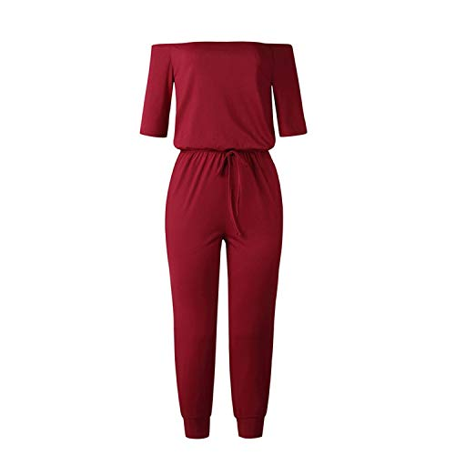 Women Sexy Slash Neck Jumpsuits Off Shoulder Streetwear Casual Half Sleeve Pocket Solid Long Rompers,Wine -