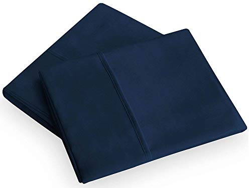 """400 Thread Count 100% Cotton Pillowcase Set, Soft & Breathable Sateen Weave, Hotel Collection Wrinkle Free Hypoallergenic & Luxury Bedding,Standard (20""""X30"""") Pillowcase - Set of 2 - Navy Blue Solid"""