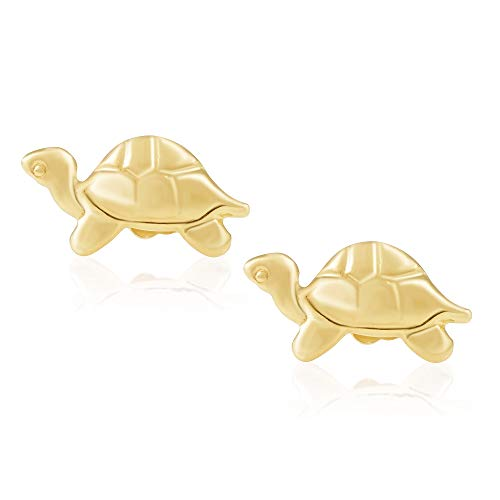 (14KT Yellow Gold Children's and Baby Girls Turtle Stud Earrings - Charming with Secure Screw Back Safety Closure)