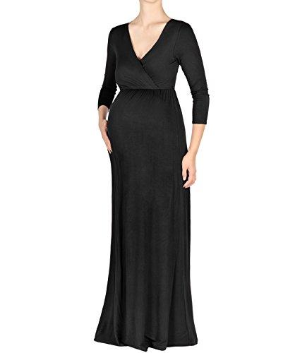 Beachcoco Maternity Women's V-Neck 3/4 Sleeve Nursing Maxi Dress Made in USA