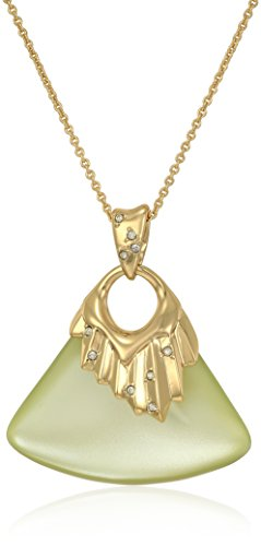 Alexis Bittar Crystal Studded Pleated Ivory Pendant Necklace, 16