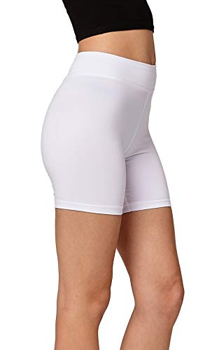 Premium Ultra Soft Stretch High Waisted Cotton Leggings for Women with Yoga Waistband - Bike Shorts Extra White - Small -