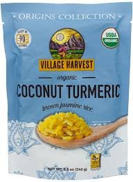 Village Harvest Microwaveable Organic Coconut Turmeric Brown Basmati Rice 8.5 oz (Pack of 6)