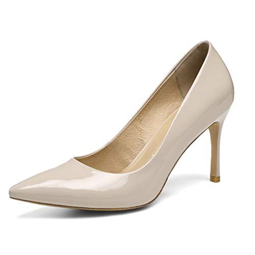 Classiques Escarpins Talons Beige Haute Chaussures Élégants Pointu De Orteils Mariage Bureau Femmes Dames zFCqOx