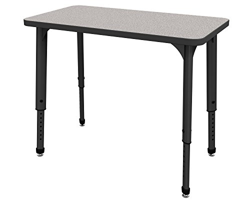 Marco Group 38-2220-77-BLK Apex Series Rectangle Single Student Adjustable Desk, 20