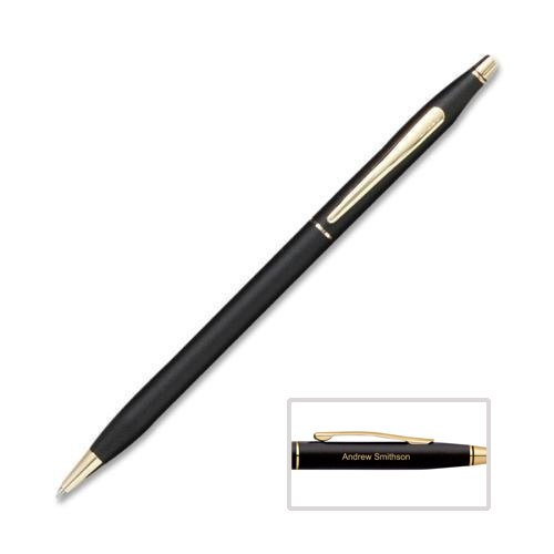 Engraved / Personalized Cross Classic Century Black Ballpoint Pen with Gold Trim 2502, custom engraved by Dayspring Pens. Fast 1 day engraving time
