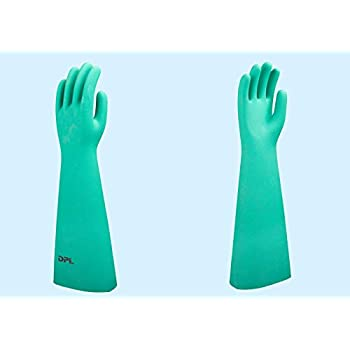 SHOWA Best Glove 727-10 Size 10 Green Nitri-Solve 13 15 mil Unsupported Nitrile Fully Coated Chemical Resistant Gloves With Bisque And Textured Finish And Gauntlet Cuff Chlorinated 1//PR