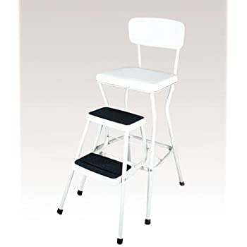 Amazon Com Cosco 11118whte White Retro Counter Chair Step