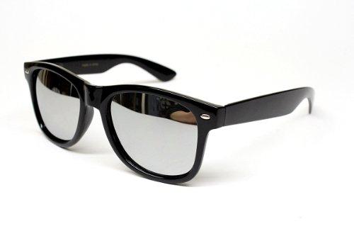 Retro Revo-lens Mirrored Sunglasses W62 (black-silver, - Mirrored Sunglasses Wayfarer