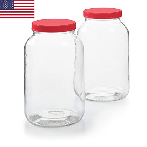 - 2 Pack - 1 Gallon Glass Jar w/Plastic Airtight Lid, Muslin Cloth, Rubber Band - Made in USA, Wide Mouth Easy to Clean - BPA Free - Kombucha, Kefir, Canning, Sun Tea, Fermentation, Food Storage