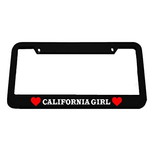 Speedy Pros California Girl Zinc Metal License Plate Frame Car Auto Tag Holder - Black 2 Holes