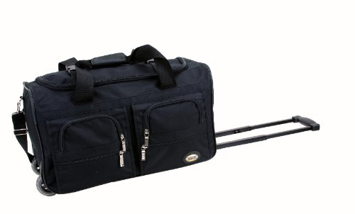 Rockland Luggage Rolling 22 Inch Duffle Bag, Black, One Size (22 X 14 X 9 Duffle Bag)