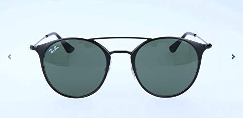 Ray-Ban RB3546 Round Metal Sunglasses, Black On Matte Black/Green, 49 ()